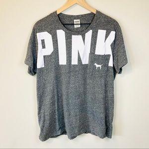 VS PINK Heather Gray Logo Short Sleeve T-shirt L